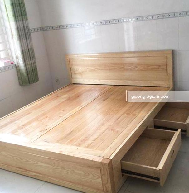 Giường ngủ gỗ sồi dạt phẳng có hộc kéo