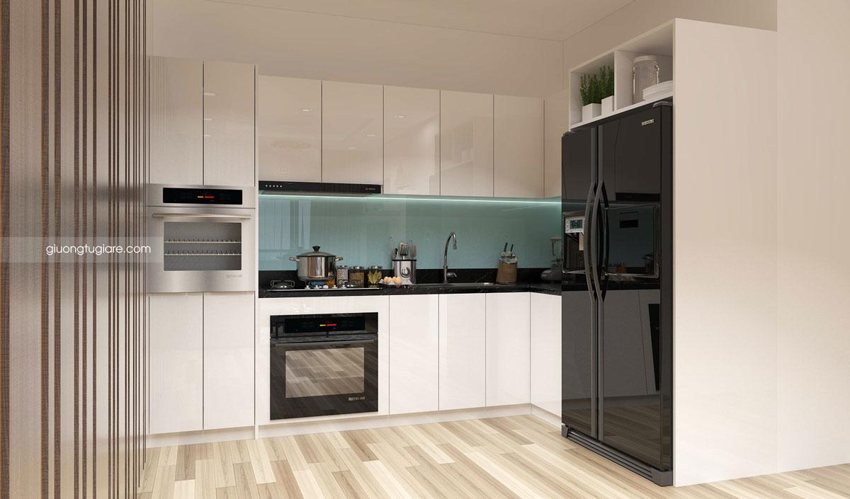 Tủ bếp làm bằng MDF dán Acylic